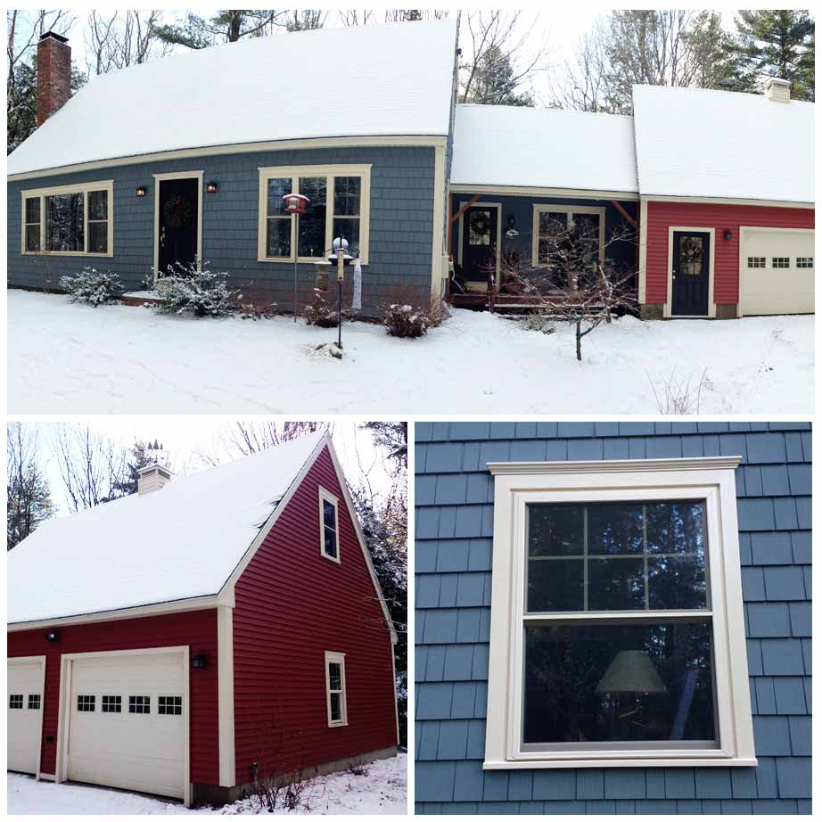 Photo of blue and red siding